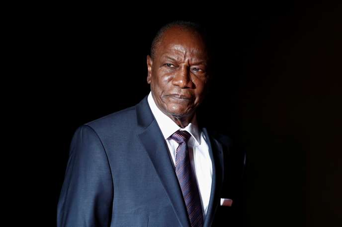 Guinea's President Alpha Conde arrives to attend a visit and a dinner at the Orsay Museum in Paris